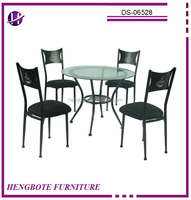 5pcs Glass Dinette Dining Room Set Metal Table Chairs Kitchen Furniture