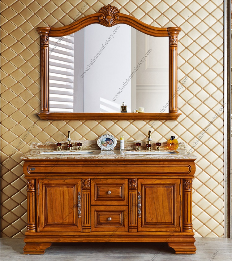 High-end Antique Hotel Double Bowl Wood Bathroom Vanity