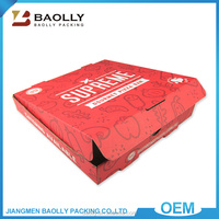 Wholesale custom red color printed rectangle oblong shape food packing pizza box