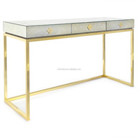 3 Drawers Gold Stainless Steel Base mirorred Console Table