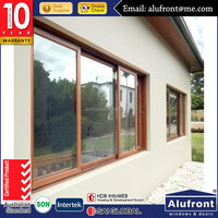 AS2047 double glazed windows aluminium frame sliding glass window with mosquito net
