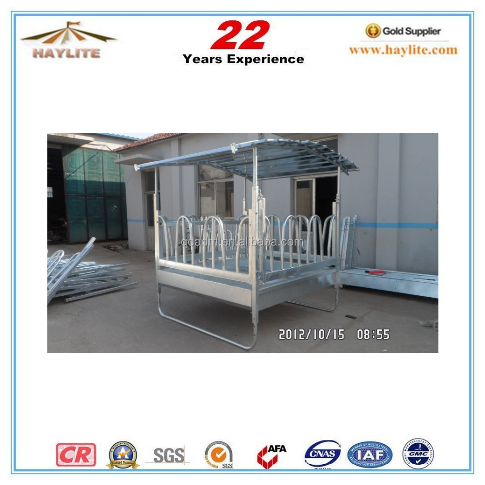 Galvanized hay horse feeder with roof