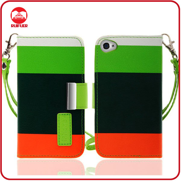 Guangzhou Manufacturer Popular Pouch Stand 3 Colors Hybrid Wallet Case for Iphone 4