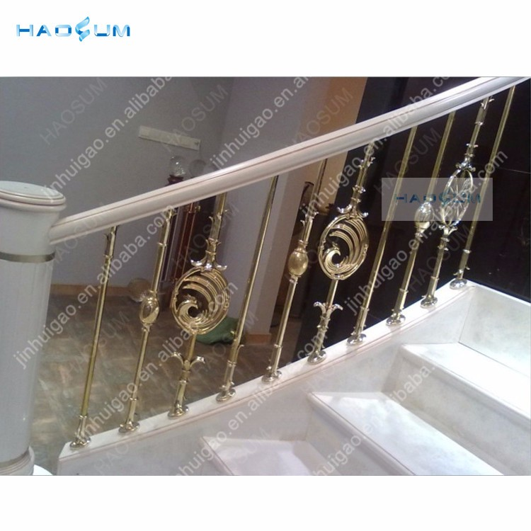 interior baking/ electroplated decorative brass /aluminium alloy stair handrail for porch steps