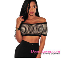 Sexy Women Wholesale Black Fishnet Nude Illusion Bulk Crop Tops
