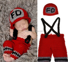 Newborn Baby Firefighter Fireman Red Hat Outfit, 2 pc Red Pant Set w/Suspenders, Photography Prop