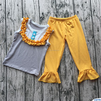 New design grey top shirt with yellow ruffle long pants baby girls spring outfit cotton knitted kids two pcs casual clothing set
