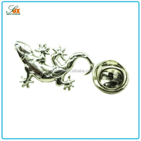 Fashionable hot sale metal butterfly pin silver plated lizard shape badge