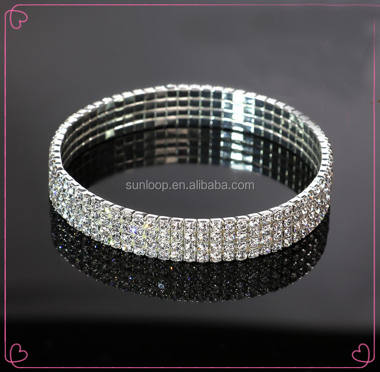 wholesale elastic girls 4 row rhinestones anklets with gold and silver color