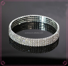 wholesale elastic girls four row rhinestones anklets with gold and silver color