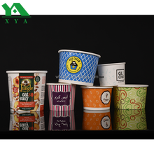 Custom printed green disposable ice cream paper cups
