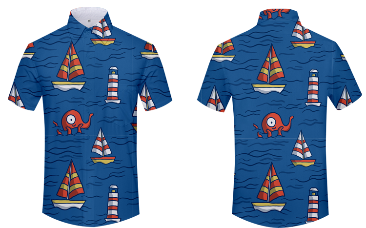 Customized Full Print Summer Short Sleeve Dress Shirt Printed Shirt For Man Apparel