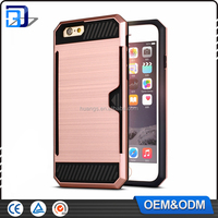 2016 trending products With Card Slot Stand Shockproof Slim Armor Back Cover Case for iPhone 6 TPU+PC Combo Cell Phone Case