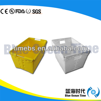 Corrugated plastic carton with lid for file