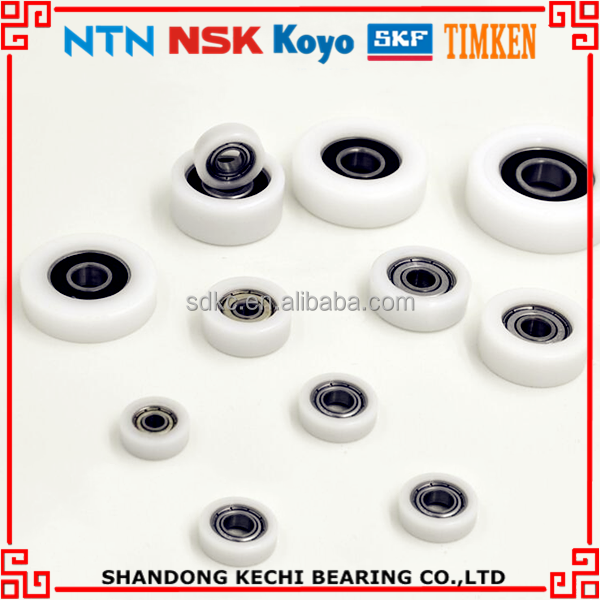 Sliding Door Rollers Wheel Rubber Coated Pulley Race Ring Polyurethane POM Nylon PU Plastic U V Groove Ball Bearings 625 626 696