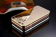 Luxury ultra thin hard phone shell aluminum mirror metal back cover metal bumper mobile phone case for iphone 6 6s plus