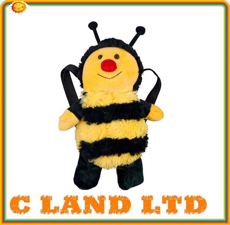 2014 New Design High Quality Custom Cute Bee Plush Backpack
