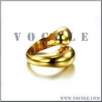 wedding newest two head snake blank shiny gold plated stainless steel ring