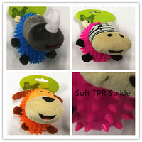 New style funny pet dog toy TPR spike coat with plush toys mixed styles
