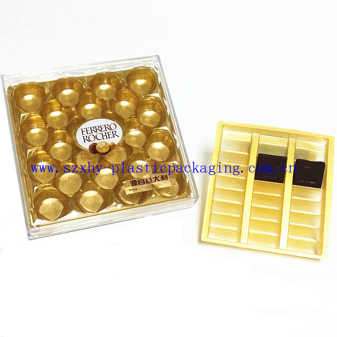 2016 Cookies/chocolate blister,PET/PP gold blister chocolate tray packaging with different shape
