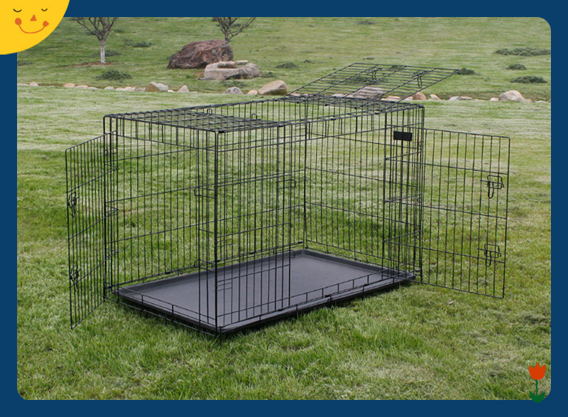 Dog Cage Crate Kennel Pet Cat Metal Folding Portable Puppy Carrier Tray Home