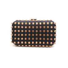 New black pu leahter stud women evening bag