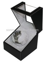 Black leather single rotating watch display box