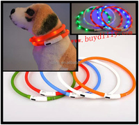 New Style USB Rechargeable Waterproof LED Dog collar Silicone Glowing collar for pet dogs/cats branded dog collars TB027