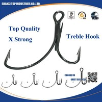 Fishing hook with semi barbed trebles fish hook