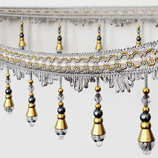 Home Textile Decorations Crystal Lace Fringe Trim Tassel Fringe Beaded Tassel Trimming