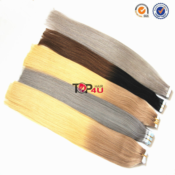 Top quality one donor full cuticle invisible curly wholesale tape in hair extensions