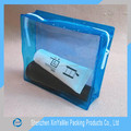 DEHP free norm translucent blue pvc bag with zipper for cosmetic packaging