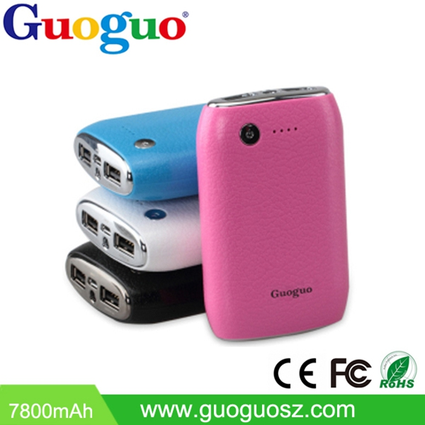 High quality portable mobile battery charger 7800mAh USB Mobile Charger Power Bank 7800mah