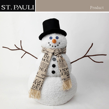 indoor large stuffed fiber optic snowman decoration christmas snowman plush toy with brown twig arms and black mitten