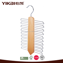 Trade assurance supplier Yikai wholesale solid lotus wood tie racks for garment usage with 20 holders