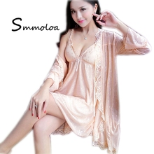Smmoloa Women Sexy Lace Nighty Lingerie Robe Transparent Sleep Dress
