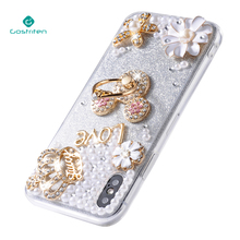 Beauty Flower Full Diamond Bling Rhinestone Pearl Mobile Phone Case For for iPhone X