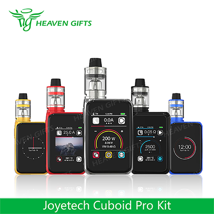 Heavengifts electronic cigarettes 4ml/ 2ml 200W Joyetech Cuboid Pro Starter Kit with 2.4-inch Big Touch Screen