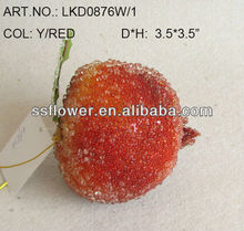 "New Artificial Fake Fruits Christmas 3.5*3.5"" Artificial Sugar pomegranate With Glitter Christmas Tree Decoration"