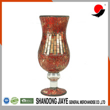 Wholesale High Quality Mosaic Crackle Tall Round Red Glass Vases For Christmas