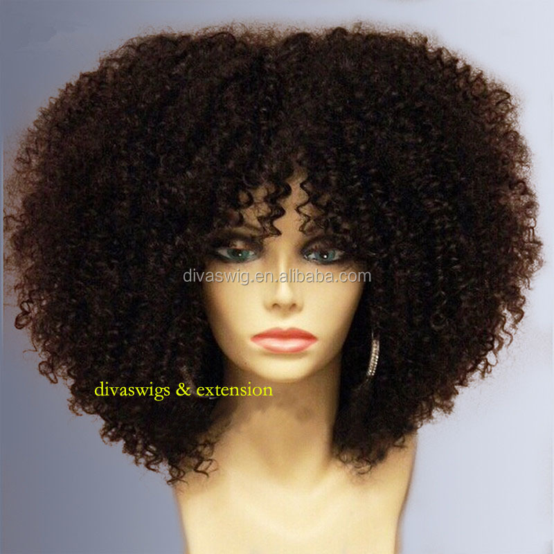 8A high density 300% fake lace front wig with bang brazilian virgin curly lace wig human front lace hairkinky curly real hair