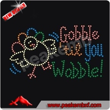 Gobble Til You Wobble Rhinestones Applique Transfers for Thanksgiving