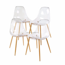 Cheap Acrylic Dining Side Chairs Transparent Clear Seat with Strong Metal Legs