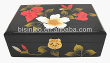 Hand Painted Floral Antique Jewel Case, Elegant Traditional Asian Wood Furniture, Home Decoration Art
