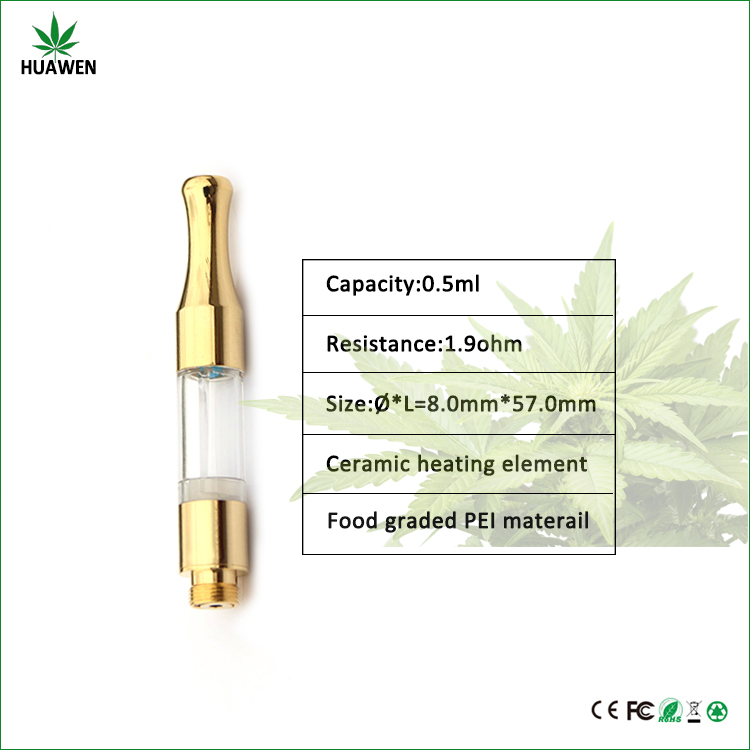 China wholesael gold cartridge with ceramic heating coil 510 thread no leakcbd Vape Pen oil tank