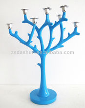 DS11106-2 resin blue paint tree branch candle holder candlestick