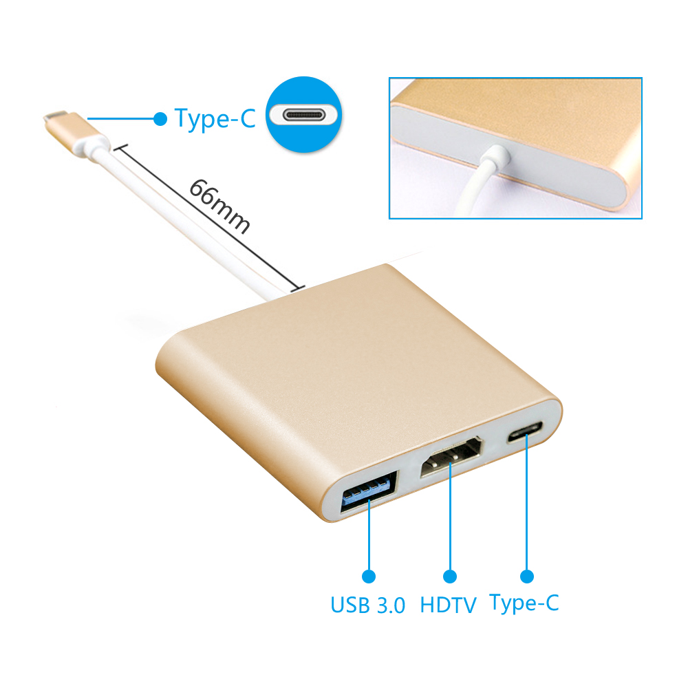 OEM 3 In 1 Multiport USB 3.1 Type-C to HDITV+ USB 3.0+ Type C Adapter Converter for New macbook