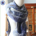 Inner Mongolia Small Order Stock High quality Diamond Structure Thick Printing Fox Fur Cashmere Shawl Stole Wrap YRPC02