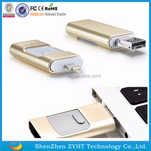 2017 new arrival hot selling 3 in 1 OTG Usb flash drive for Android Phone/Computer/Iphone with Custom Logo with cheap price