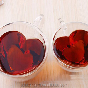 Double wall glass cup 240/180ml Heart Love Shaped Clear Coffee Mug Tea Cups Heat Resistant Healthy Mini Drink Mug Beer Wine Cup